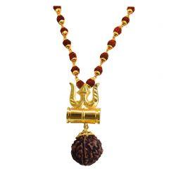 M.S Trading Company Jewellery Golden Gold-Plated Brass, Wood Lord Shiv Trishul Damru Locket with Panchmukhi Rudraksha Mala for Men and Women