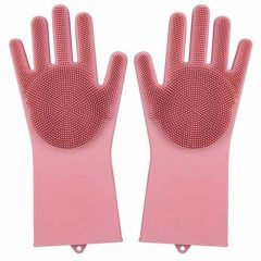 Silicone Kitchen Magic Gloves for Dishwashing Rubber Dish Washing with Brush Cleaning Scrubber (Pack of 1Pair)