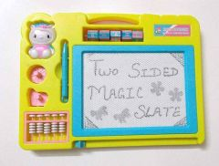 Two Sided Magic Slate Board, Learn & Rub For Kids, Boys & Kids (Pack Of 1) (Color May Vary)