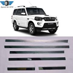 Speed 99~RPM Chrome Stainless Steel Lower Window Garnish Compatible With Mahindra Scorpio Set Of 6 Pcs Exterior Accessorie