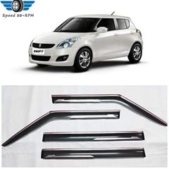 Speed 99~RPM Double Chrome Line Door Visor Wind Deflector Compatible With Maruti Swift (Model 2011-16) Complete Set Of 4 Pcs Extra Premium