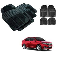 After Cars Black Carpet Floor/Foot 4D Rubber Mats for Honda Amaze 2018 Car