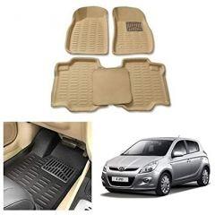 After Cars Cream Carpet Floor/Foot 4D Mats for Hyundai i20 Old