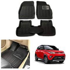 After Cars Black Carpet Floor/Foot 4D, Mats for Mahindra KUV 100