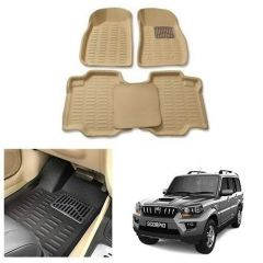 After Cars Cream Carpet Floor/Foot 4D Mats,for Mahindra Scorpio Old