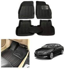 After Cars Black Carpet Floor/Foot 4D, Mats for Skoda Superb