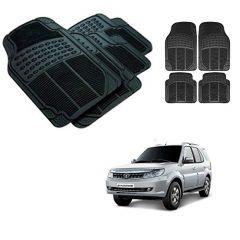 After Cars Black Carpet Floor/Foot 4D Rubber Mats for Tata Safari Storme Car