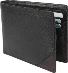 Men Black Genuine Leather RFID Wallet-Tishta-037