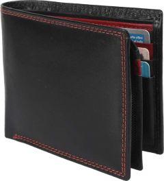 Men Black Genuine Leather RFID Wallet  (10 Card Slots)