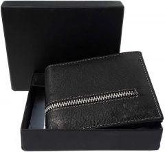 Men Black Genuine Leather RFID Wallet-Tishta-119