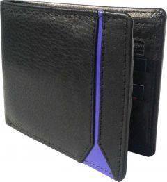 Men Black Genuine Leather RFID Wallet  (5 Card Slots)