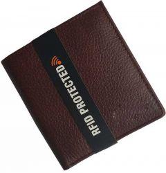 Men Brown Genuine Leather RFID Wallet (8 Card Slots)