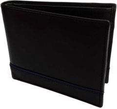 Men's Black Genuine Leather RFID Wallet  (5 Card Slots)