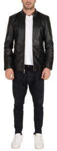 ASPENLEATHER Genuine Leather Jackets For Men - Long Sleeve Casual Classic Multi-Pocket Jacket For Travel Outwear Warm Winter Mens Stylish (Black)
