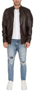 Splash USA™ PU Leather Jackets For Men- Long Sleeve Casual Classic Mens Stylish Multi-Pocket Jacket For Travel Outwear Warm Winter