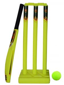 Mini Cricket Set For Kids Cricket Combo 1Bat, 3 Wickets, 2 Bails, 1 Base & 1 Ball With Bag