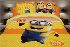 FABRIC EMPIRE Cotton Minion Printed Kids Version Comforter Set With 1 Double Bedsheet and 2 Pillow Covers