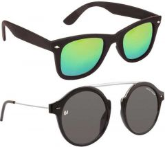 Stylish Gradient, Mirrored, UV Protection Wayfarer, Oval Sunglasses For Unisex (Grey & Green) (Pack Of 2)