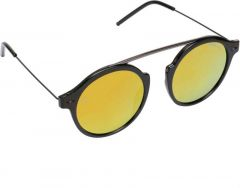 Fashionable Mirrored, UV Protection Round Sunglasses For Unisex (Golden) (Pack Of 1)