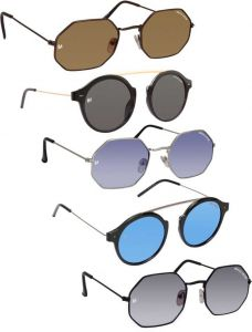 Stylish UV Protection Round Sunglasses For Men & Women (Black, Blue, Brown, Grey) (Pack Of 5)