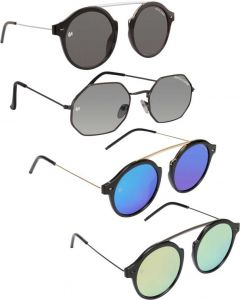 Trendy & Cool 100% Gradient, UV Protection, Mirrored Round Sunglasses For Men & Women (Free Size) (Pack Of 4)