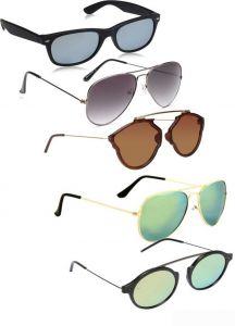 Trendy 100% Gradient, Mirrored, UV Protection Wayfarer, Aviator Sunglasses (Green, Grey, Brown, Silver) (Pack Of 5)