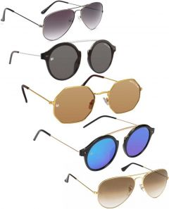 Trendy & Cool 100% UV Protection, Gradient, Mirrored Aviator Sunglasses For Unisex (Brown, Black, Grey) (Pack Of 5)