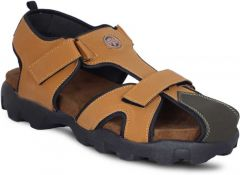 AUSTINJUSTIN Top Grain, Self Design, Airmix Sole, Synthetic, Velcro Closure, Casual Sandal For Men (Color-Khaki)