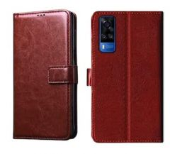 100% Leather Flip Cover for Vivo Y51 (Brown)