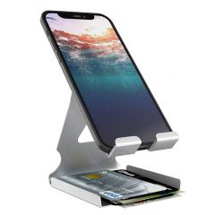CYALERVA Universal Mobile Phone Holder for All Mobile Phones and Tablets (Silver)