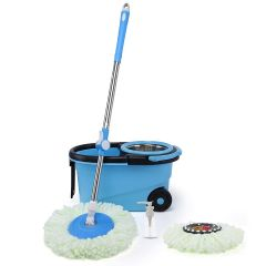 Twin Bucket Wheels Spin Mop With 1 Micro Fiber Refill, 1 Liquid Dispenser Pump and Drain Plug For Home Cleaning