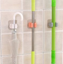 VIETNAM Self Adhesive Reusable No Drilling Anti-Slip Broom Wall Mounted Mop Holder Storage Organization Home Kitchen Wardrobe Pack of 3