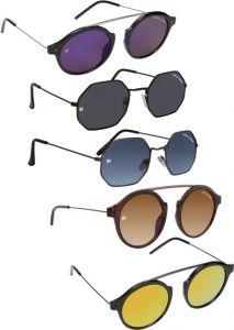 Trendy & Cool UV Protection Aviator Sunglasses For Men & Women (Blue, Black, Golden, Brown) (Pack Of 5)