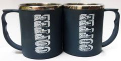 NEXA Coffee Cup Couple Plastic, Stainless Steel Coffee Mug  (200 ml) (Pack of 2)