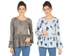 Jazbay Trending, Stylish & Fashionable Regular Fit Round Frilled Neck Casual Wear, Office Wear & Party Wear Top For Women (Pack of 2) (Multicolor)