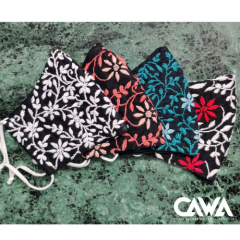Cawa Double Layered 100% Cotton Light & Easy To Breathe Through Hand-Washable Eco-friendly Chikankari Masks (Packs of 4) | (Color: Black)