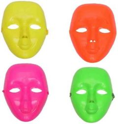 PTCMART Multicolor Face Cover Plastic Simple Mask For Party (Pack of 4)