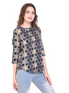 Jazbay Fashionable & Stylish Casual 3/4 Slit Sleeve Printed Crepe Regular Round Neck Women Top