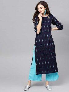 Women Printed Rayon Straight Perfect for regular Wear Kurta (Navy Blue)