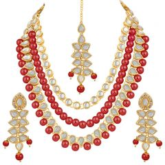 CATALYST Designer and Stylish Pearl Necklace Jewellery Set With Earrings For Women's