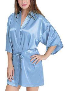 AWSM Women's Satin Kimono Robe V-Neck Sexy Honeymoon Nightwear Nightdress Sleepwear Short Length (Pack of 1)