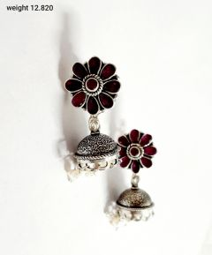 Exclusive Vj 925 Silver Oxidized Traditional Ruby Pearl Jhumki Earrings For Women