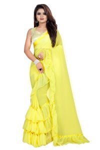 WomenS Georgette Ruffle Frill Saree With Blouse Piece | Yellow