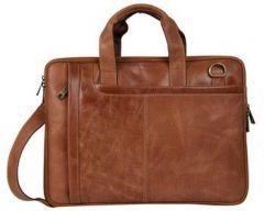 ASPENLEATHER Designer Genuine Leather Laptop Bag For Men (Tan)