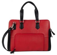 ASPENLEATHER Genuine Leather Laptop Bag Stylish For Women (Red)