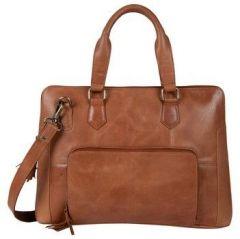 ASPENLEATHER Tan Genuine Leather Laptop Bag For Women