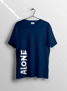 Alone Graphic Printed Cotton Round Neck Half Sleeves T-Shirt For Men's (Navy Blue)