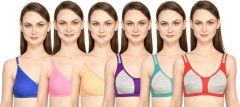 Bolddot Comfortable Cotton Blend Regular Non-Padded Bra For Girls and Women (Multicolor)