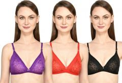 Bolddot Adjustable Cotton Blend T-Shirt Non-Padded Bra For Girls and Women (Multicolor)