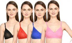 Bolddot Combo108 Cotton Blend Non-Padded T-Shirt Bra For Women & Girls  (Multicolor)